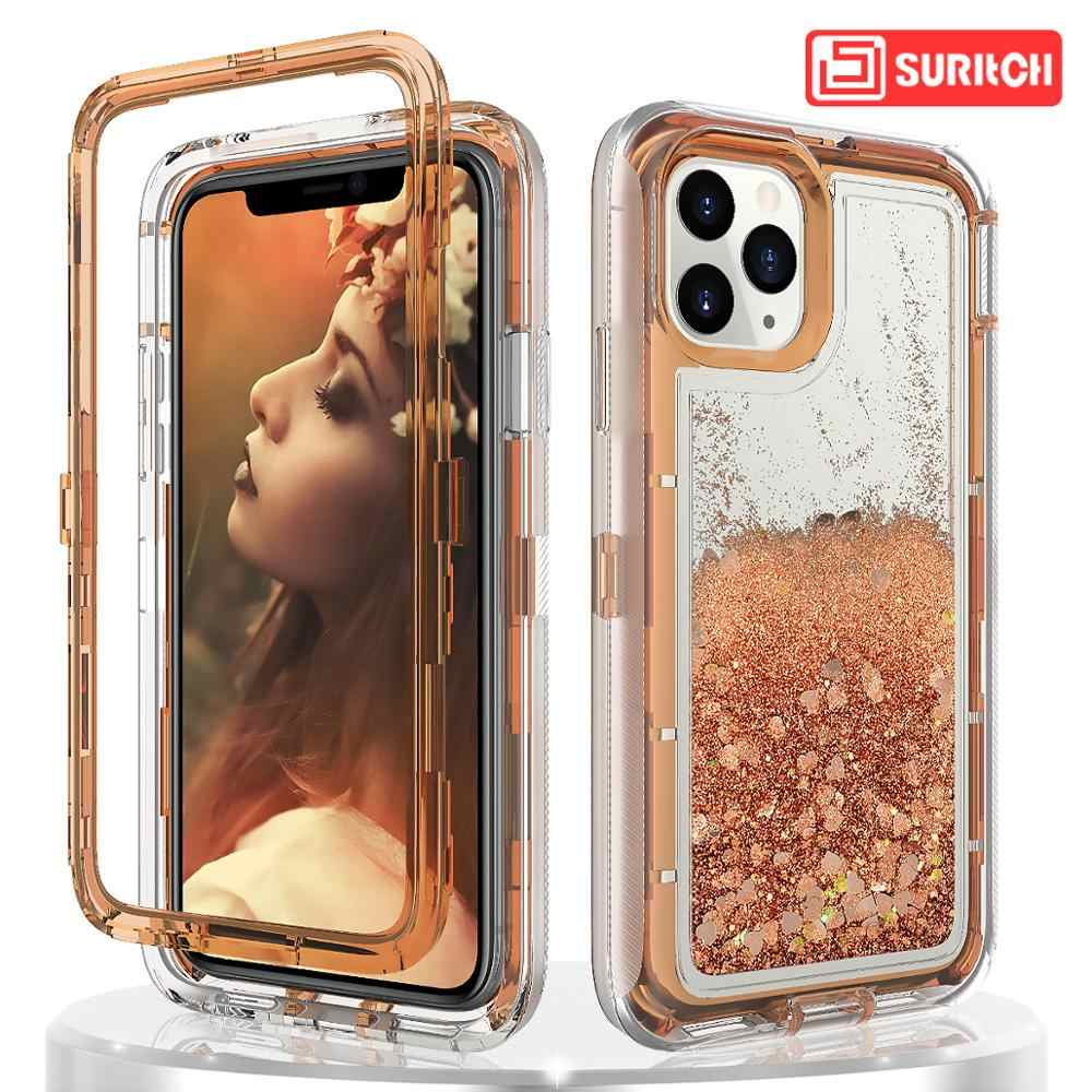Pasir Isap Case untuk iPhone 11 Pro 7 8 6 6 S Plus X XS Max XR Case Glitter BLING cairan Melindungi Jelas Shockproof Hard Cover