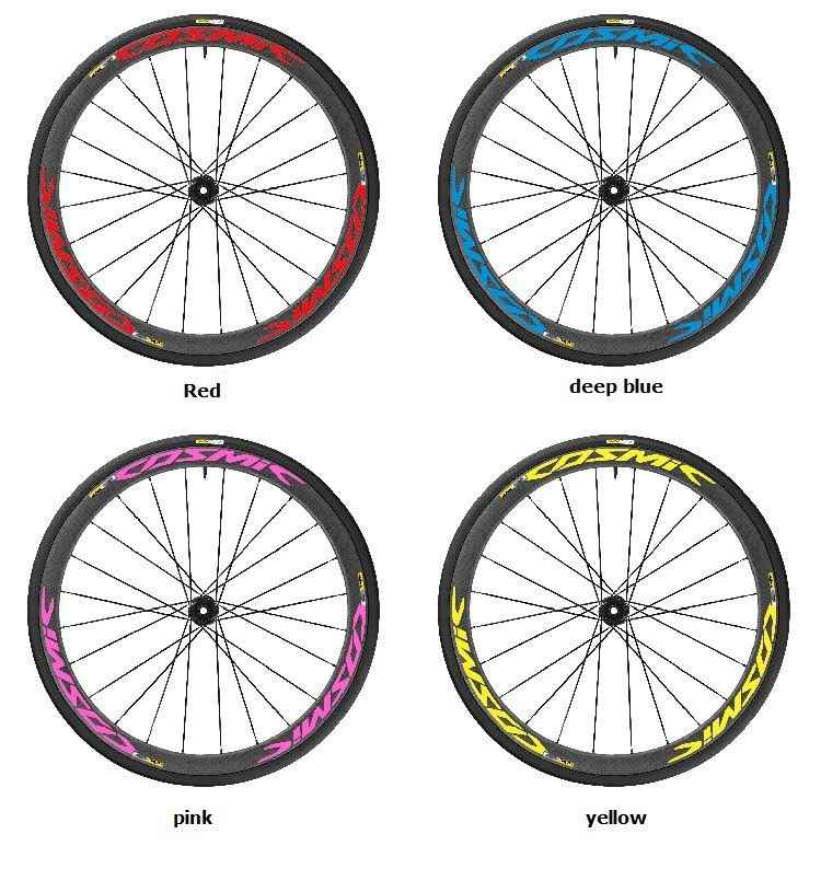 Pegatinas Llanta para Bicicleta de Carretera 40mm Modelo Mavic Cosmic SLR Stickers Bike Amarillo