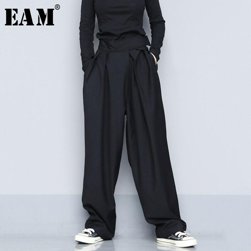 [EAM] Hohe Taille Schwarz Kurze Plissee Lange, Breite Bein Hose Neue Lose Fit Hosen Frauen Mode Flut Frühjahr herbst 2021 1S399