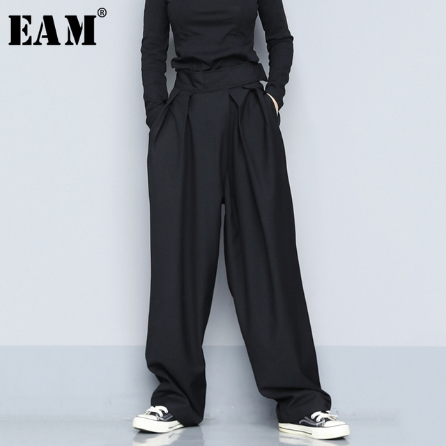 $ US $28.14 [EAM] High Waist Black Brief Pleated Long Wide Leg Trousers New Loose Fit Pants Women Fashion Tide Spring Autumn 2020 1S399