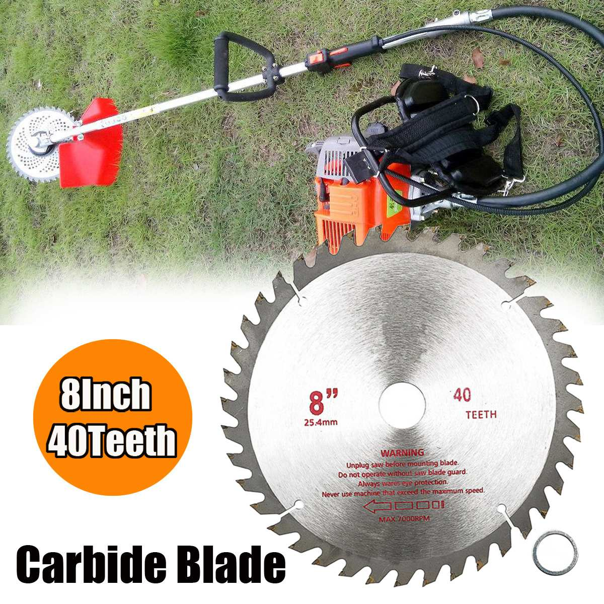 8 Inch 40T Hard Steel Circular Sawing  Wood Cutting Round Discs Cutter Grass Garden Mower Trimmer Tool For Grinder Cutter