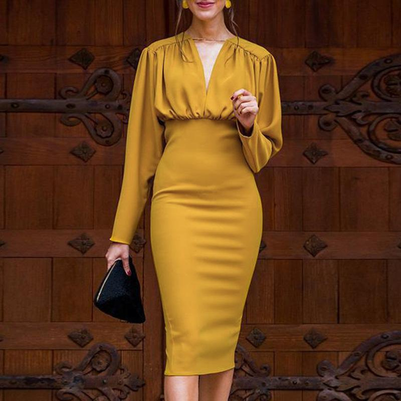 Turmeric Elegant pleated midi dress women 2019 Autumn Party yellow bodycon ladies dress Plus size high waist winter dress new-in Dresses from Women's Clothing