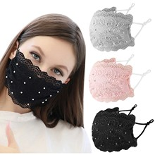 Lace Mouth Mask With Design Reusable Adult Mouth Cap With Adjustable Ear Straps Masque Noir Mascarilla Negra Halloween Cosplay cheap CN(Origin) Masks Unisex Face mask COTTON mask cotton reusable luxury children s masks disposable mask jettable child mask for men