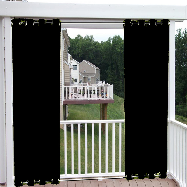 nicetown patio curtain outdoor drape panels top and bottom grommets blackout waterproof mildew resistant drapes for outdoor