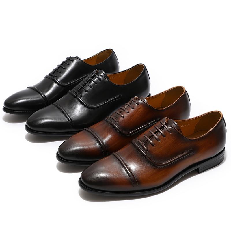 FELIX CHU élégant Cap Toe hommes Oxford chaussures noir marron en cuir véritable chaussures à lacets chaussures formelles homme robe de mariée chaussures taille 39 46-in Chaussures d'affaires from Chaussures    1