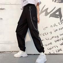 Cargo Pants Womens Harajuku Pants with Chain Multi Pockets J