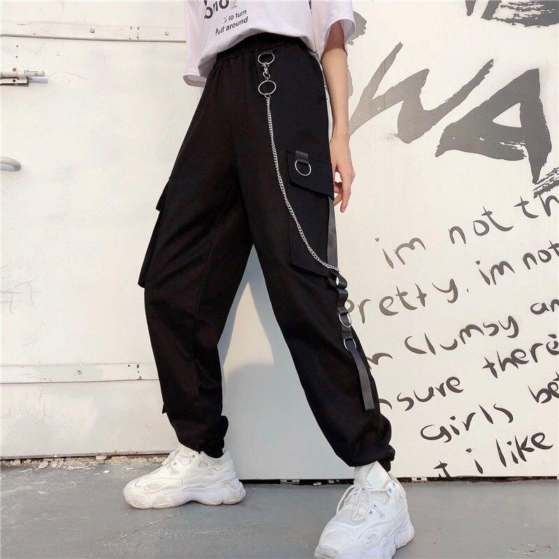 Cargo Pants Womens Harajuku Pants with Chain Multi Pockets Joggers Woman Trousers High Elastic Waist Hip Hop Female Harem Pants