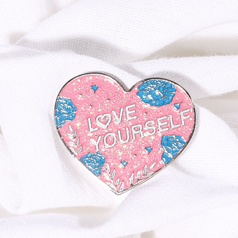 1Pcs Kpop Love Yourself Heart Metal Pins Bangtan Boys Brooches Badge Accessories Clothes Backpack Decoration Supplies Fan Gifts(China)