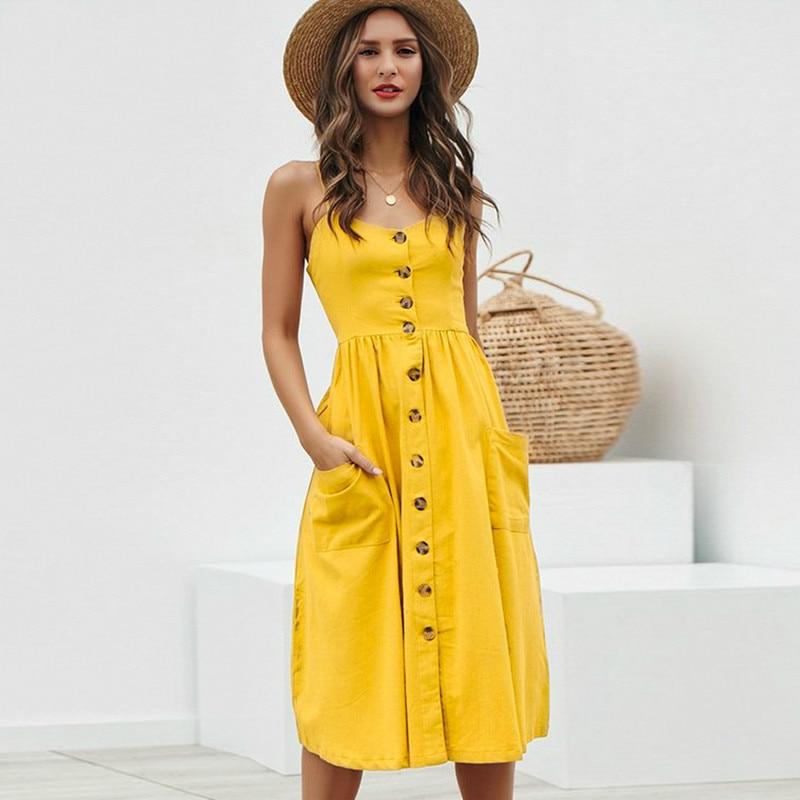 Просто, элегантно женское платье на пуговицах с карманом в горошек, желтое хлопковое миди летнее повседневное женское платье больших разме...