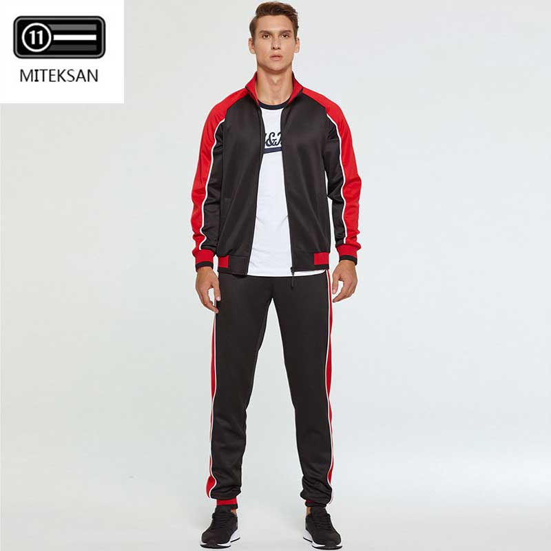 2019 Men Tracksuit Sportswear 2 Piece Sets Fleece Jacket + Pants Casual Men's Track Suit Streetwear Fitness Large Size M-4XL