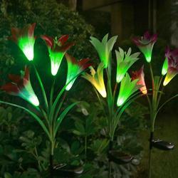 2 sztuk 4 głowice słoneczna Lily latarnia Led symulacji latarnia na zewnątrz dekoracyjne lampa trawnikowa panel słoneczny lampa Led oświetlenie ogrodowe w Lampy gazonowe od Lampy i oświetlenie na