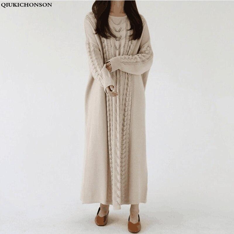 Grande taille automne hiver pull robe femmes mode coréenne paresseux vent tricoté robe o-cou Vintage dames longue robe pull