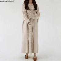 Plus Size Autumn Winter Sweater Dress Women Korean Fashion Lazy Wind Knitted Dress O neck Vintage Ladies Long Dress robe pull