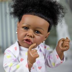 58cm Bebe poupée Reborn bébé poupées 22 pouces corps complet Silicone Boneca poupée peau noire nouveau-né bambins jouets pour enfants cadeaux
