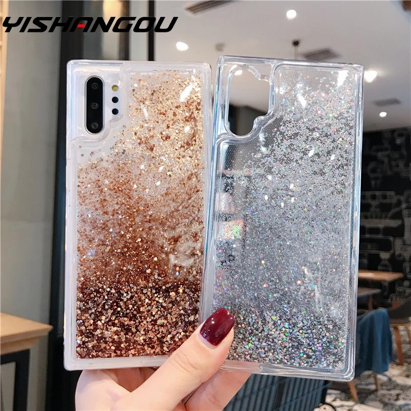 YISAHNGOU Phone Case For Samsung Galaxy Note 8 9 10 S10 S9 S8 Plus A50 A9S A7 A9 2018 Glitter Liquid Quicksand Soft Case Cover image