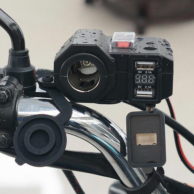 Ładowarka motocyklowa 5V 2.1A wyjście dwa porty USB i gniazdo do zapalniczki konstrukcja gniazda z wodoodpornym niezależny przełącznik