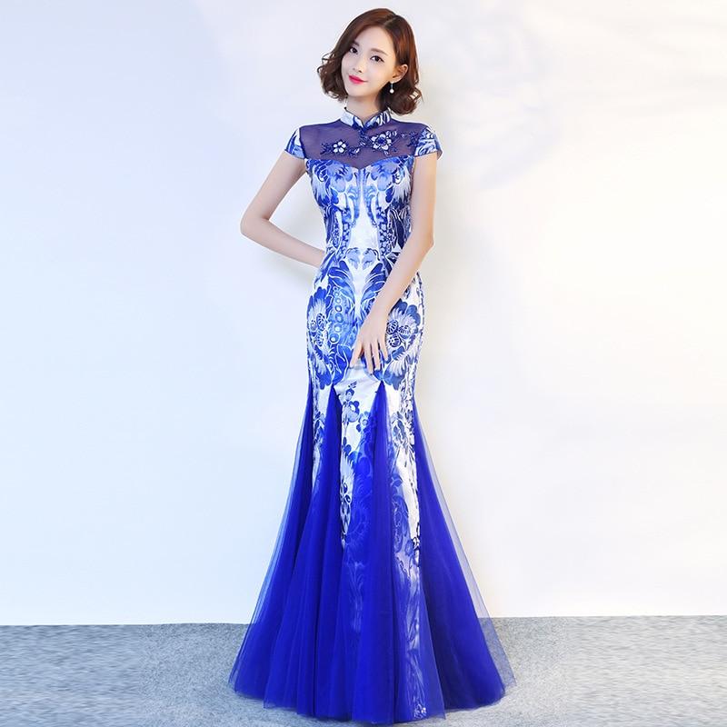 Party Evening Cheongsam Dress Oriental Chinese Style Woman Elegant Mandarin Collar Qipao Sexy  Prom Long Robe Retro Vestido