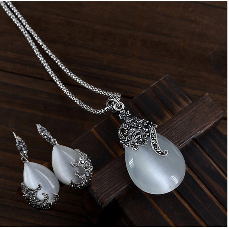 Vintage Elegant 925 Sterling Silver Fashion Opal Water Drop Pendants Long Snake Necklaces Drop Earrings Women Jewelry Sets