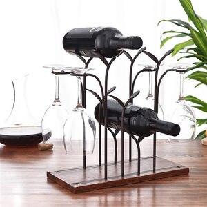 Fio de ferro floresta folha vinho rack suporte pendurado copos bebendo stemware prateleira vinho garrafa & copo vidro titular exibição