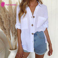 Women Button Down V Neck Shirts Long Sleeve Blouse Roll Up Cuffed Sleeve Casual Work Basic Plain Loose Tops with Pockets