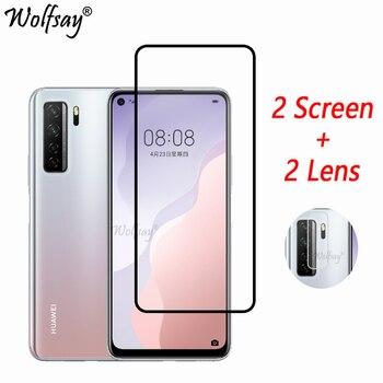 Перейти на Алиэкспресс и купить Полное покрытие закаленное стекло для Huawei P40 Lite 5G защита экрана Huawei P40 Lite 5G стекло для камеры Huawei P40 Lite 5G стекло