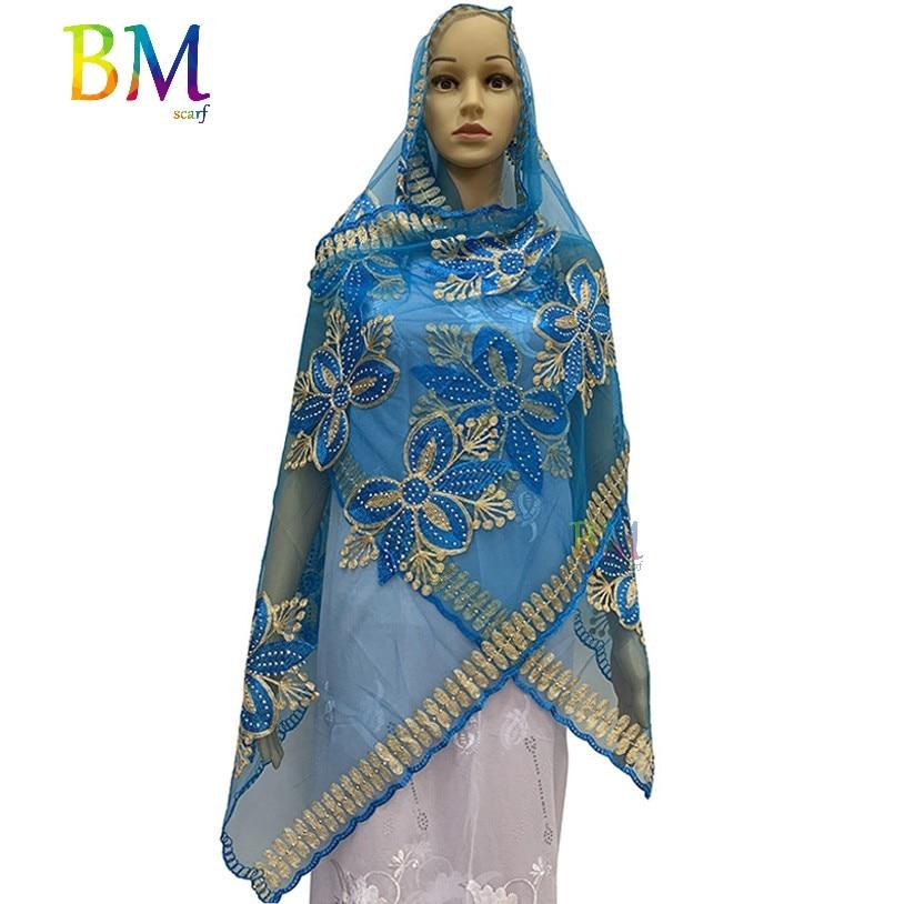 New African Women Scarf Muslim Women Scarf 200*50cm Small Net Scarf For Shawls BX09