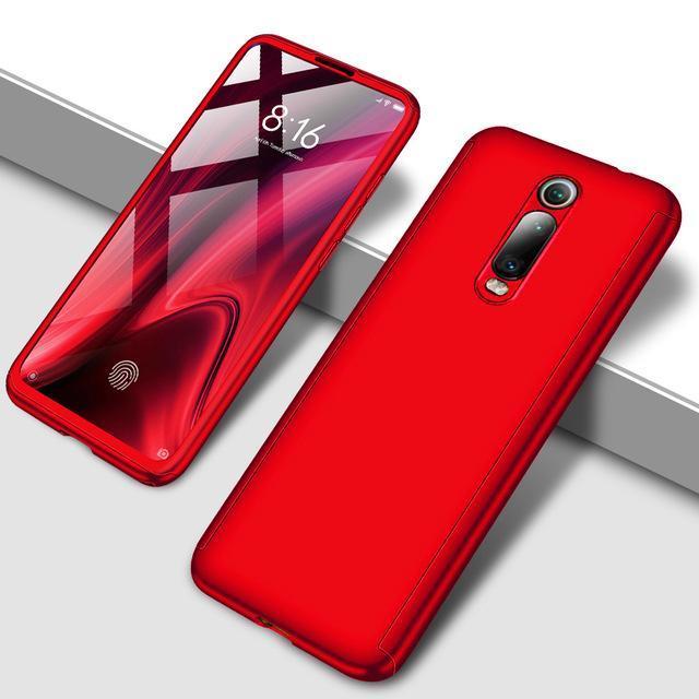 Противоударный 360 градусов чехол для телефона для Xiaomi Redmi Note 5 5A 6 7 8 Pro Полный Чехол для Redmi 7 7A K20 Pro Fundas Capa Coque - Цвет: Красный