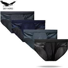 4 Teile/los Mesh Unterwäsche Männer Slip Cuecas Sexy Mann Höschen für Männlichen Unterhose Kurze Eis Silk Beutel Plus Größe L XL XXL XXXL 4XL