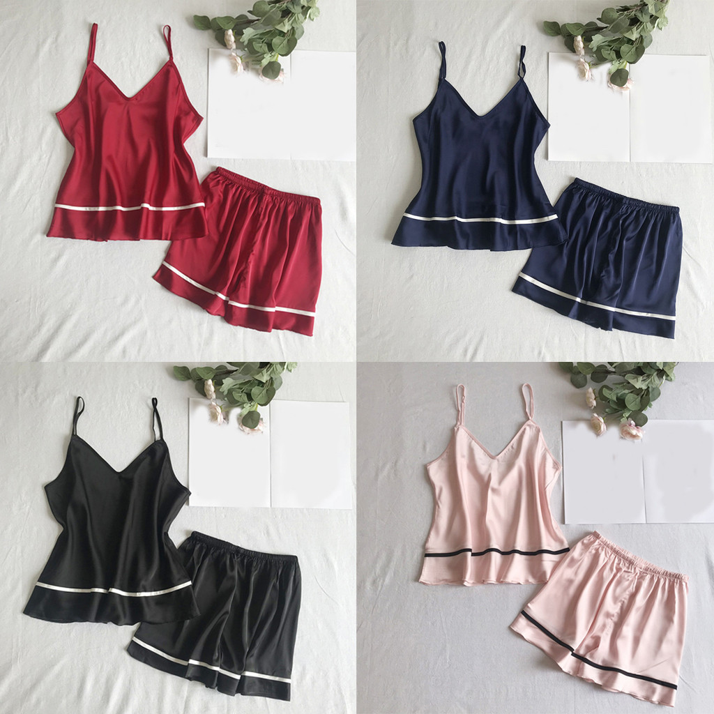Women's Sleepwear Sexy Summer fashion causal Womens Sexy Sling Sleepwear Shorts  Nightwear Sets   Y725