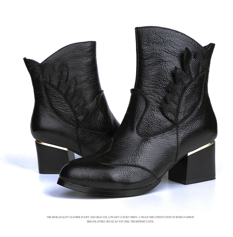 Vintage Casual Ankle Boots Women Shoes Genuine Leather Retro High Heels Ladies Shoes Botas Mujer Martin Boots Female Booties