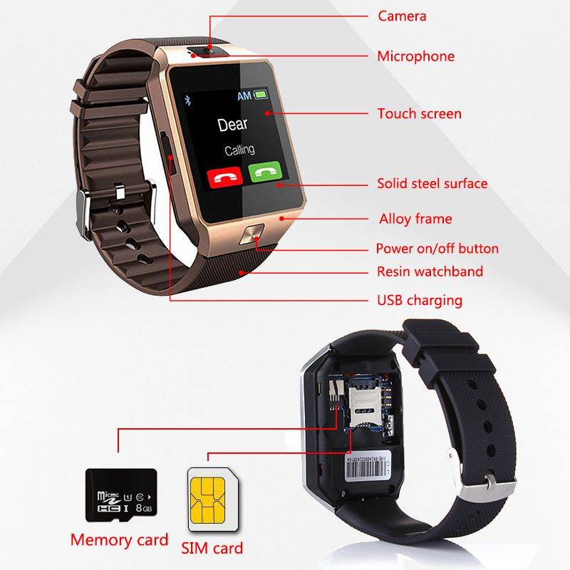 LISM Smartwatch DZ09 Smart Watch Support TF Card SIM Camera Sport Bluetooth Wristwatch for Samsung Huawei Xiaomi Android Phone in Smart Watches from Consumer Electronics