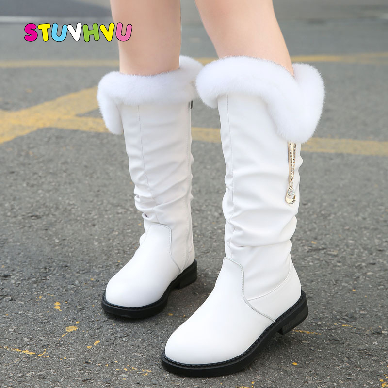 2019 Winter New Children Boots Girls Genuine Leather Boots Fashion Princess Martin Boots Plus Velvet Warm Girls Shoes Size 28-38