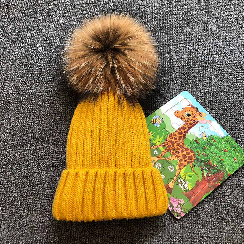 Winter autumn Girls Boys Fur Pom Pom Beanies Hats Cotton Beanies Cap For Baby Lovely Knitted Hats With Fur PomPom Hats Kids