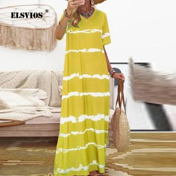 2020 Summer Boho Dress Women Striped Print V Neck Long Party Dress Elegant Short Sleeve Casual Beach Dresses Vestidos Plus Size 1