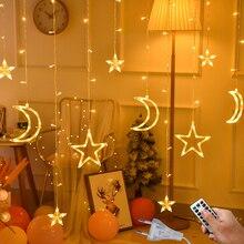 3,5 м 220 В светодиодный светильник с Луной и звездой, Рождественская гирлянда, гирлянда, светильник s, сказочный светильник для занавесок, для улицы, для праздника, свадьбы, украшения