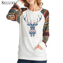 Seluxu 2019 Autumn Women T-Shirt O-Neck Floral Print Long Sleeve Tops Pocket Front