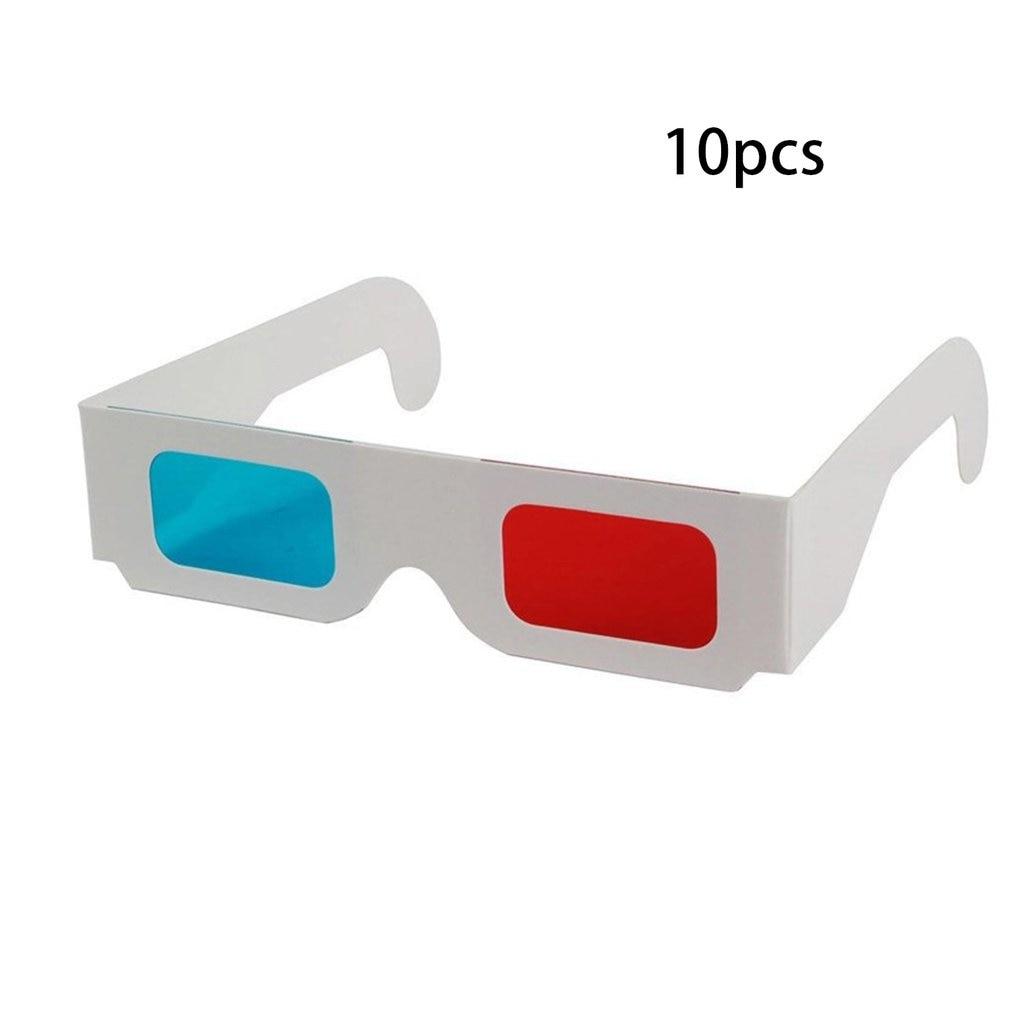 10pcs/lot Universal Paper Anaglyph 3D Glasses Paper 3D Glasses View Anaglyph Red/Blue 3D Glass For Movie Video EF