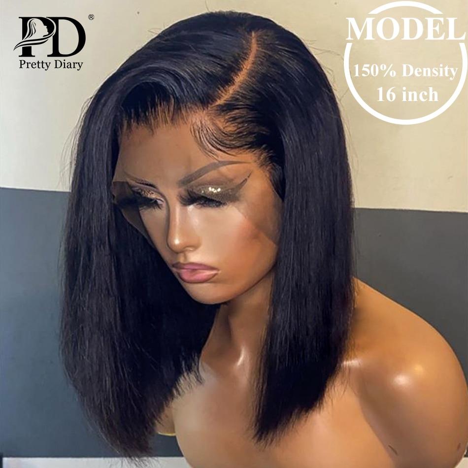 Pelucas frontales de encaje de 13x4 Bob para mujer, cabello humano corto con encaje Frontal, línea de cabello Natural, cabello brasileño liso con encaje Frontal Bob