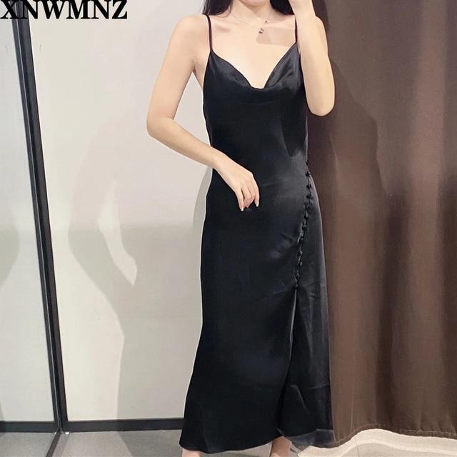 Dress V Neck Vintage Backless Spaghetti Strap Midi Dress  6