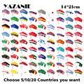 YAZANIE 14*21 см выбор стран, которые вы хотите 5/10/20 шт маленький напечатанный полиэстер национальная стран ручной флаг и баннеры