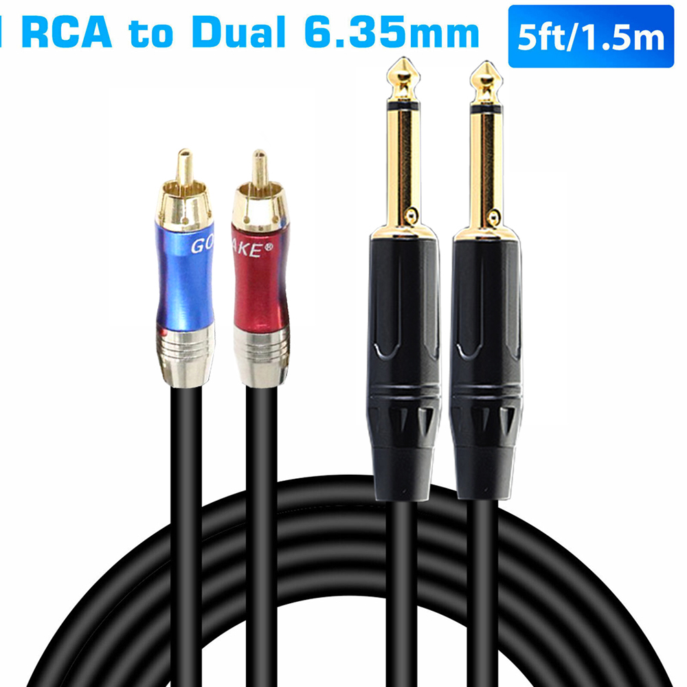 5 ft/1.5 M Hifi Audio Cable Dual 6.35mm to Dual <font><b>RCA</b></font> for Mixing Console Amplifier 2*<font><b>RCA</b></font> to 2*1/<font><b>4</b></font>