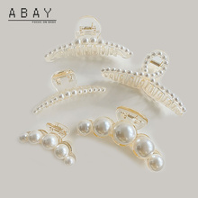 Ponytail-Clip Women Pearl Geometric Headdress Versatile Temperament Trend Female Gold