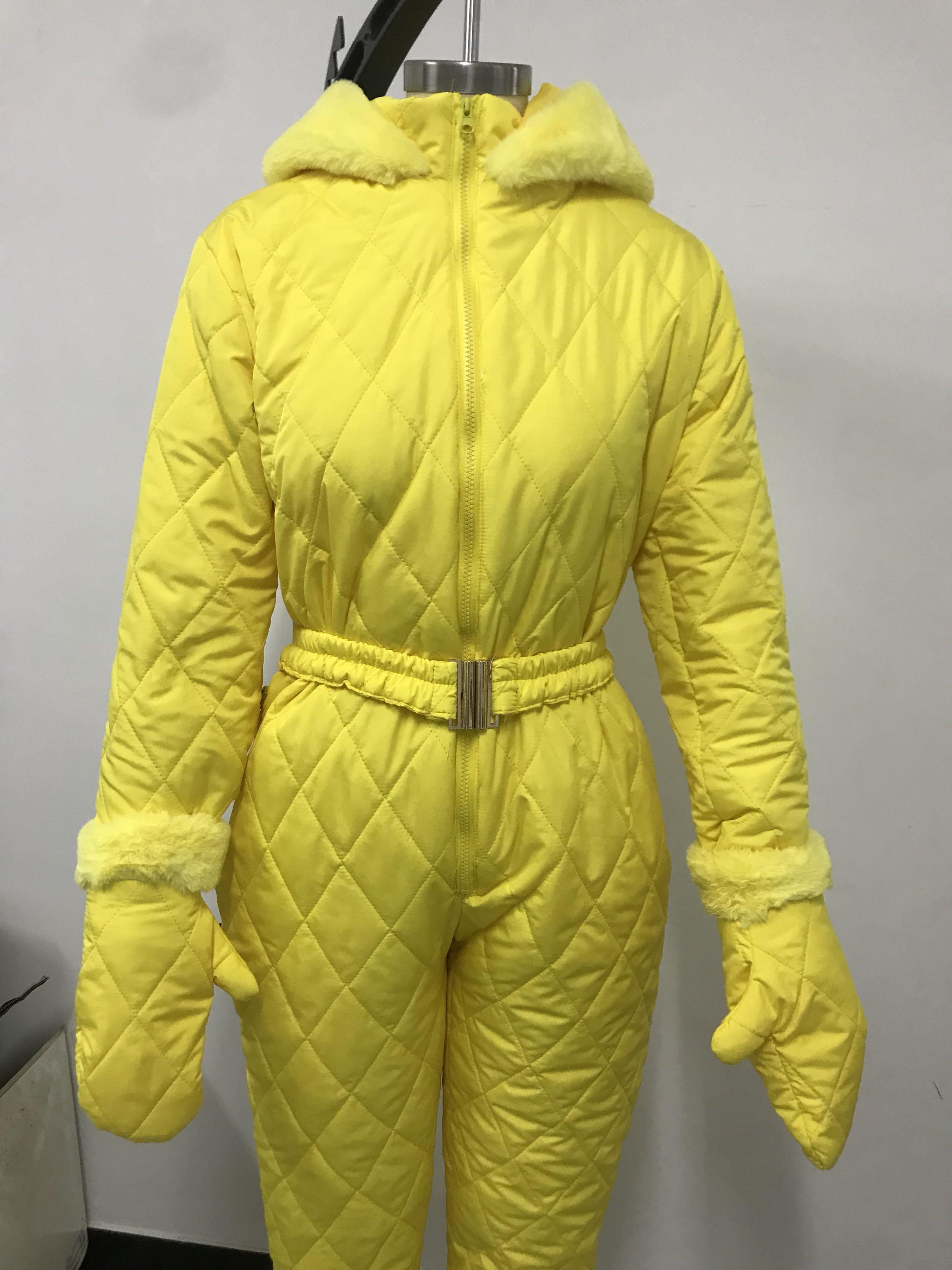 Women Winter Jumpsuit Zipper Ski Suit Warm Snowsuit Outdoor Sports Pants Ski Suit Waterproof Jumpsuit Large Size TH36