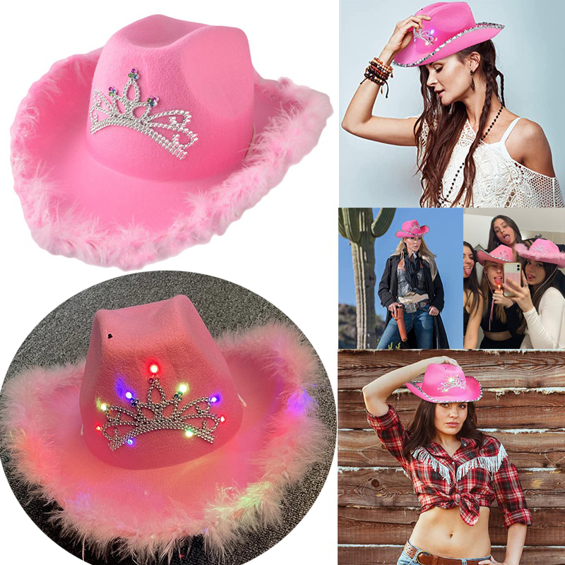 Western Style Women Girl Light-Up Blinking Crown Pink Tiara Cowgirl Hat Cowboy Cap Costume Party Hat with Neck Drawstring Felt %