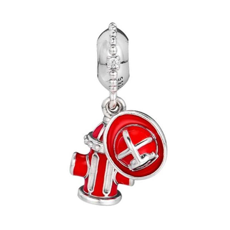 PANDULASO pompier essentiels balancent breloque forme Pandora Bracelets argent 925 Original rouge émail perle pour femmes bijoux à bricoler soi-même