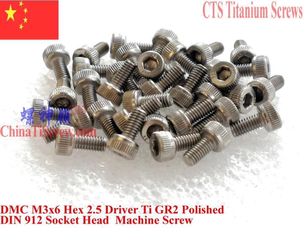 DIN 912 титановый винт M3x4 M3x5 M3x6 M3x10 M3x12 M3x14 N3x16 головка шестигранной головки 2,5 драйвера Ti GR2 полированная 25 шт.
