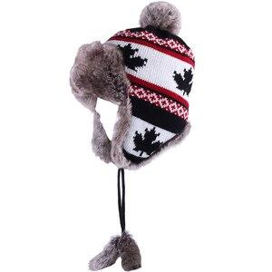 Image 2 - Sombrero de lana de invierno para mujer, gorro de lana tejida para nieve con Pompón, hoja de arce, gorra de aviador, orejeras de piel de zorro, forro polar ruso Ushanka