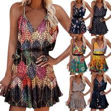 Summer Y2k Vintage Elegant Women's Fashion Mini Dress V-neck Printed Sleeveless Ruffled Plus Size Lady Party Dresses Vestidos