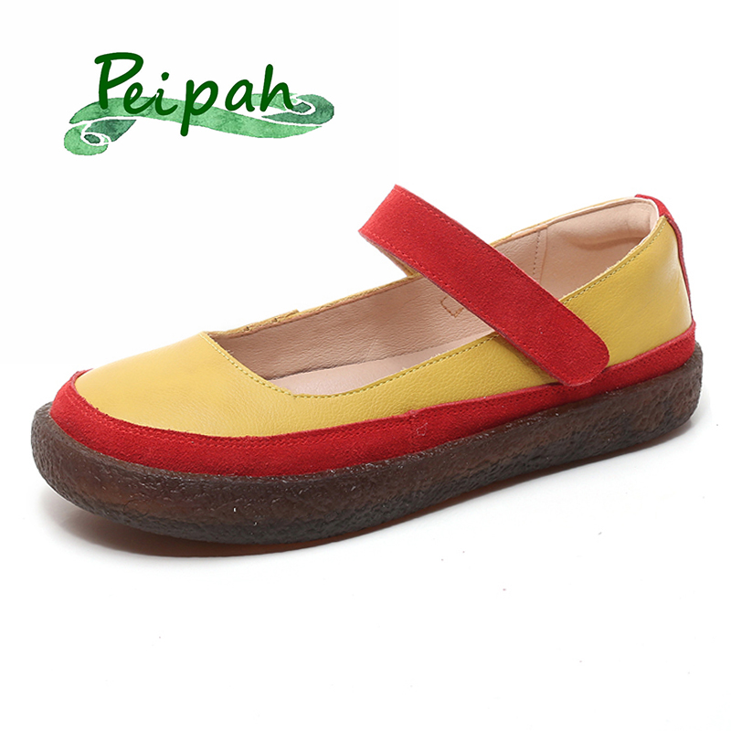 PEIPAH Mixed Colors Genuine Leather Shoes Woman Mary Janes Slip on Ballet Flats Female Shallow Casual  Harajuku Shoes Plus Size