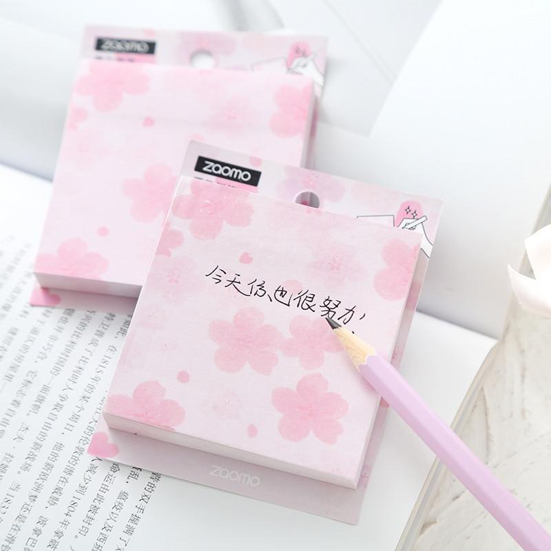 Mohamm 80PCS Creative Sakura Memo Pad Korean Cute Note Stationery Supplies Flakes Scrapbook Decorative Sticky Notes
